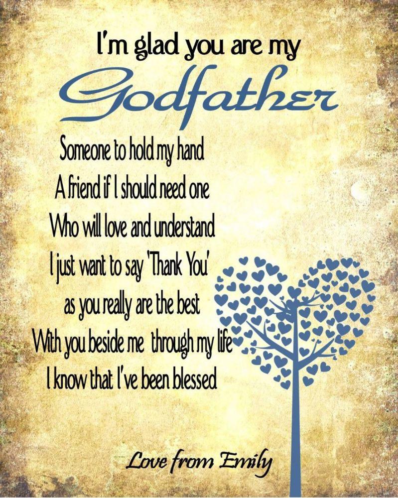 Personalised Thank You Godfather Print